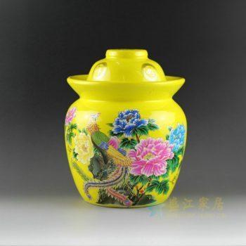 DL98-G 9350黄底黄地青花斗彩泡菜罐 盖罐 储物罐 尺寸
