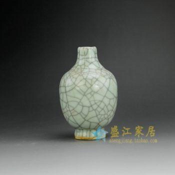 RYXC18-H 8411手工裂纹釉开片花瓶 花插 尺寸:口径 2.5厘米 肚径 8.1厘米 高 12.8厘米