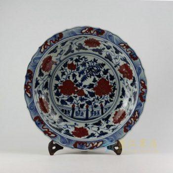 RZEZ09-B 9432仿古青花缠枝花卉图瓷盘 挂盘 赏碟 尺寸: 口径 42厘米 深度 8.8厘米