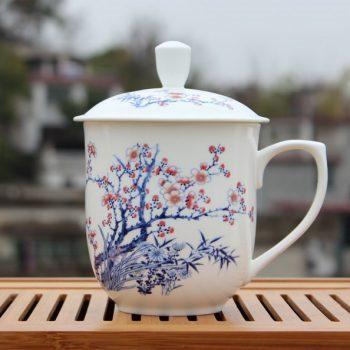 CBDI40-G-01手工高档骨瓷 将军杯 粉彩梅竹相伴茶杯 品茗杯 大号老板杯尺寸:高 17cm 净高 12cm 口径 11cm 容量 850ml 重量 600G