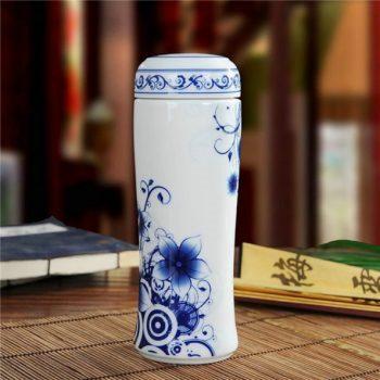 CBAJ02-k手工全瓷青花花卉图茶杯 养生保温杯 旅行杯 尺寸:高 19.8cm 口径 5.6cm 容量 300ml