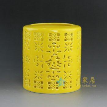 RYXH11-B 8737手工颜色釉黄地镂空花卉笔筒 文具 尺寸:高 11.6厘米 口径 10.6厘米 肚径 10.6厘米