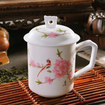 RYDI55 粉彩水点桃花茶杯 品茗杯 手柄带盖老板杯尺寸 高15cm口径9cm容量550ml