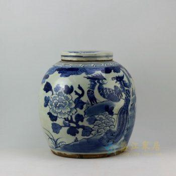 RZEY03 9276仿古青花凤凰牡丹图 盖罐 储物罐 尺寸:口径 10.8厘米 肚径 28.5厘米 高 29.8厘米