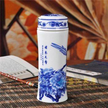 CBAJ02-I-01手工全瓷青花国色天香图文茶杯 养生保温杯 旅行杯 尺寸:高 19.8cm 口径 5.6cm 容量 300ml