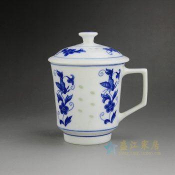 CBAH01-C 9193手工青花玲珑花卉图茶杯 品茗杯 泡茶杯 尺寸:口径 8.2厘米 盖径 9.3厘米 高 12.8厘米 容量 270毫升