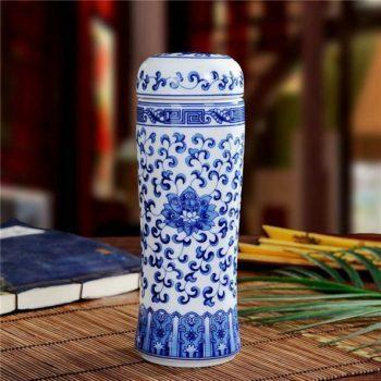 CBAJ02-C手工全瓷青花缠枝莲茶杯 旅行杯 养生保温杯 尺寸:高 19.8cm 口径 5.6cm 容量 300ml