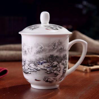 CBDI33-A-13手工高档骨瓷景式杯 粉彩山村雪景图茶杯 品茗杯 老板杯 尺寸:高15/11cm 口径 11cm 容量 550ml