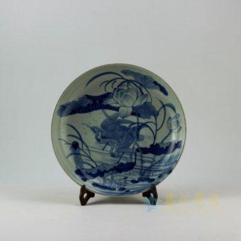 RZEY11-C 9335仿古青花鹭栖荷莲图瓷盘 挂盘 赏碟 尺寸: 28.5厘米 深度 5.2厘米