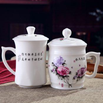 CBDI41-C-01手工高档骨瓷粉彩国色天香图文茶杯 夫妻对杯 品茗杯尺寸:左 口径 8.5cm 高 15.5cm 容量 约500ml 右 口径 9.5cm 高 15cm 容量约 550ml