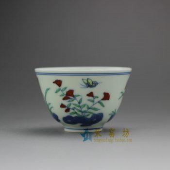 RYJI09 8063手工青花斗彩茶杯 品茗杯 功夫茶具 尺寸:口径 7.3厘米 高 4.6厘米 容量 90毫升