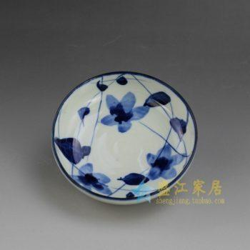 RYEW21-C 8784手工青花水草花卉纹小碟 茶碟 尺寸: 口径 11.8厘米 高 4.6厘米 容量 200毫升