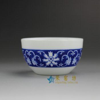 14DR153 8126青花环圈缠枝花卉图茶杯 品茗杯 功夫茶具 尺寸:口径7.2厘米 高 4.1厘米 容量 80毫升