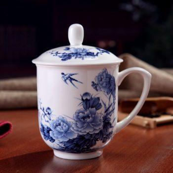 CBDI33-B-03手工高档骨瓷景式杯 青花富贵花开图茶杯 品茗杯 老板杯尺寸:高15/11cm 口径 11cm 容量 550ml