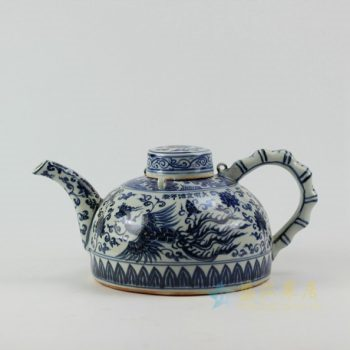RZEZ05 9417仿古青花凤凰图茶壶 泡茶壶 尺寸:口径 5.6厘米 肚径 20.1厘米 柄至壶嘴宽 30.5厘米 高15.2厘米