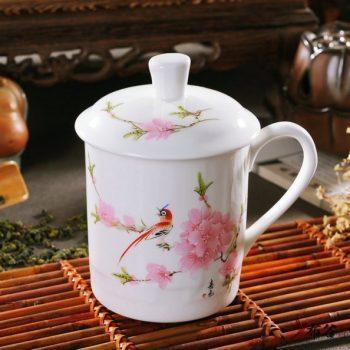 CBDI43-S-1313手工高档骨瓷粉彩水点桃花茶杯 品茗杯 老板杯尺寸 高15cm口径9cm容量550ml