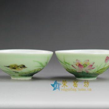 4DR156 9101手绘荷花鸟豆青釉茶杯 茶碗 功夫茶具 尺寸:口径 7.3厘米 高 3.4厘米 容量 40毫升