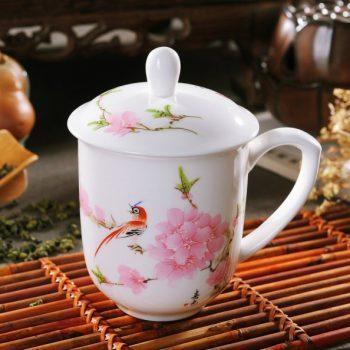 CBDI33-E-03手工高档骨瓷景式杯 粉彩水点桃花茶杯 品茗杯 老板杯尺寸:高15/11cm 口径 11cm 容量 550ml
