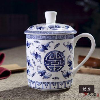 CBDI43-N-33手工高档骨瓷青花福寿双全图茶杯 品茗杯 老板杯尺寸 高15cm口径9cm容量550m