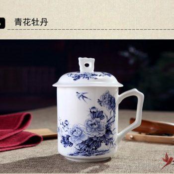 CBDI42-C-04手工高档骨瓷带孔盖杯 富贵花开图茶杯 品茗杯 老板杯尺寸 高15cm口径9cm容量550ml