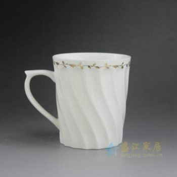 CBAG01-G 9211新骨瓷金边花卉波浪纹茶杯 品茗杯 尺寸:口径 8.5厘米 高 9.6厘米 容量 300毫升