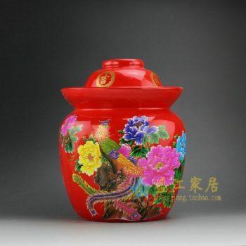 DL98-D 8237手工粉彩红地锦上添花图盖罐 储物罐 泡菜罐