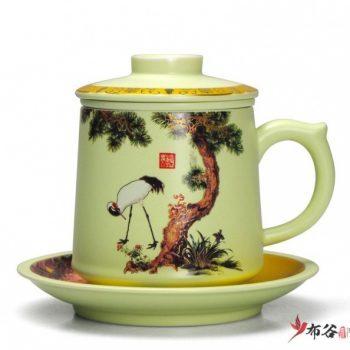 CBAD04-a-15手工亚光四件套新品茶杯 釉下彩松鹤延年图茶杯 品茗杯 带托老板杯 尺寸:高11.5cm 碟高 2cm 口径 8.5cm 碟径 15cm 容量 450ml