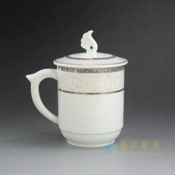 CBAG03-A 9178新骨瓷金边花卉纹带盖茶杯 品茗杯 办公杯 老板杯 尺寸: 口径 8.3厘米 盖径 9.5厘米 高 14.2厘米 容量 400毫升