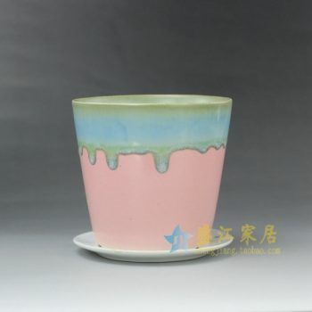 RYYF18-E 7297陶艺流口釉花盆 花缽带托 尺寸:口径 12厘米 托盘径 12.5厘米 高 11.6厘米