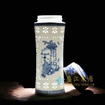 CBAJ01-C 019手工全瓷镂空青花童趣图屏画茶杯 养生保温杯 旅行杯 尺寸:高 19.5cm 口径 5.5cm 容量 450ml