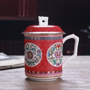 手工高档骨瓷珐琅彩团花屏画茶杯 品茗杯 老板杯尺寸:高15/11cm 口径 11cm 容量 550ml