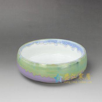 RYYF24-B 7308陶艺流口釉 花缸 花缽 尺寸:口径 18.5厘米 肚径 19.3厘米 高 6.8厘米