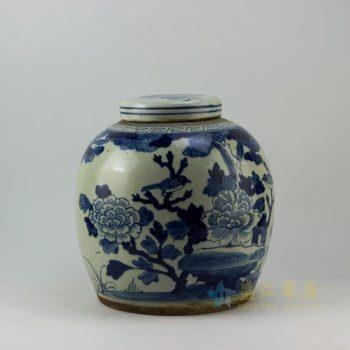 RZEY04 9282仿古青花富贵花开图盖罐 储物罐 尺寸:口径 10.8厘米 肚径 28.5厘米 高 29.8厘米