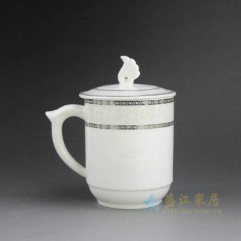 CBAG03-B 9181新骨瓷金边花卉纹带盖茶杯 品茗杯 老板杯 办公杯 尺寸:口径 8.3厘米 盖径 9.5厘米 高 14.2厘米 容量 400毫升