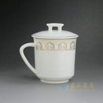 CBAG06 9223新骨瓷带盖金边花卉茶杯 办公杯 老板杯 尺寸: 口径 9厘米 盖径 9.8厘米 高 12.2厘米 容量 380毫升