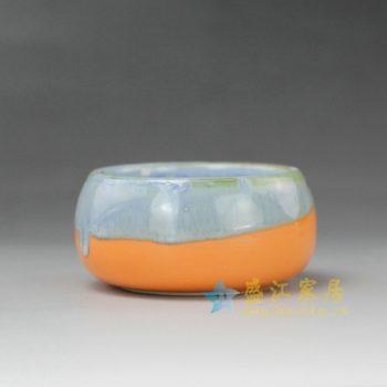 RYYF20-B 7267陶艺流口釉 花缽 花插 尺寸: 口径6.5厘米 肚径 8厘米 高4厘米