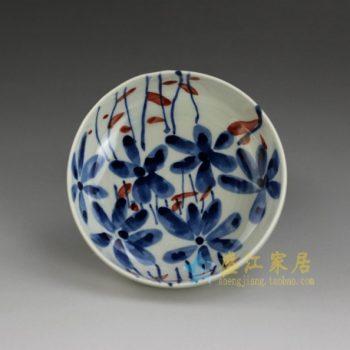 RYEW21-D 8965手工青花水草花卉图小碟 茶碟 尺寸: 口径 11.8厘米 高 4.6厘米 容量 200毫升