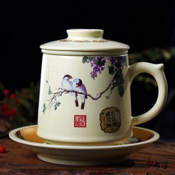 CBAD04-a-17手工亚光四件套茶杯 青花斗彩鸟趣图新品茶杯 品茗杯 老板杯 尺寸:高11.5cm 碟高 2cm 口径 8.5cm 碟径 15cm 容量 450ml