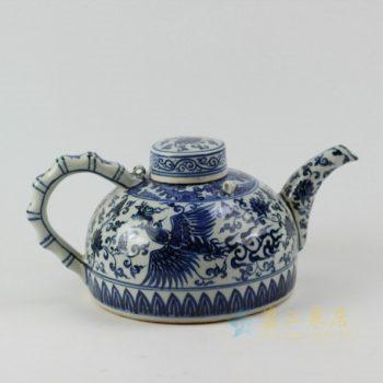 RZEZ05 9420仿古青花凤凰展翅图茶壶 泡茶壶 尺寸: 口径 5.6厘米 肚径 20.1厘米 柄至壶嘴宽30.5厘米 高 15.2厘米