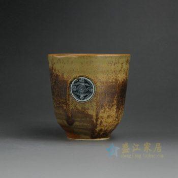 RYCR05 9166陶泥团花图茶杯 品茗杯 功夫茶具 尺寸:口径7.6厘米 高 7.8厘米 容量 180毫升