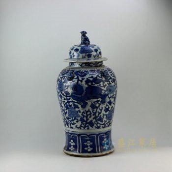 RZEY08 9306仿古青花狮子花卉纹将军罐 盖罐 储物罐 尺寸: 口径 13.8厘米 肚径 25.6厘米 高 52.6厘米