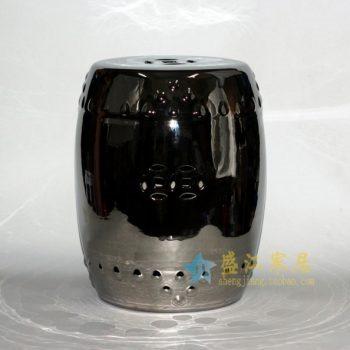 RYLL27-B 8540手工颜色釉镀银镂空双钱图瓷凳 凉墩 鼓凳