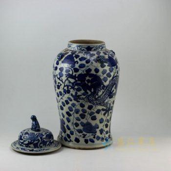 RZEY09 9314仿古青花龙纹狮盖将军罐 盖罐 储物罐 尺寸: 口径 13.8厘米 肚径 25.6厘米 高 52.6厘米