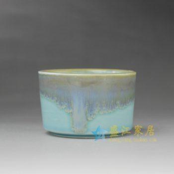 RYYF25-A 7322陶艺流口釉花缽 花插 尺寸: 口径 8.2厘米 高 5.3厘米