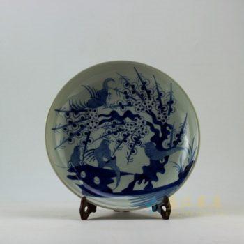 RZEY11-E 9345仿古青花喜上眉梢图瓷盘 挂盘 赏碟 尺寸:口径 28.5厘米 深度 5.2厘米