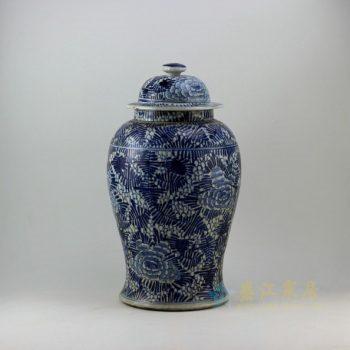 RZEY06 9294仿古青花花卉图将军罐 盖罐 储物罐 尺寸:口径 15.2厘米 肚径 25.8厘米 高 46.3厘米