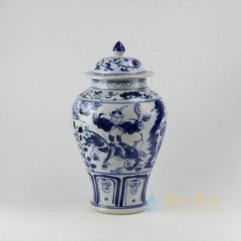 RZEZ10 9462青花人物图将军罐 储物罐 盖罐 尺寸:口径 12.6厘米 肚径 22.5厘米 高 39.8厘米