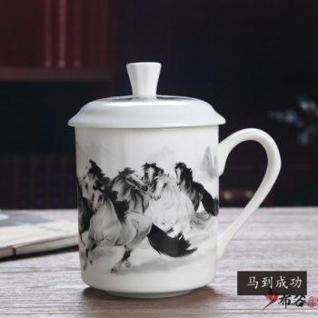 CBDI43-H-33手工高档骨瓷釉下骏马奔腾图茶杯 品茗杯 老板杯尺寸 高15cm口径9cm容量550ml