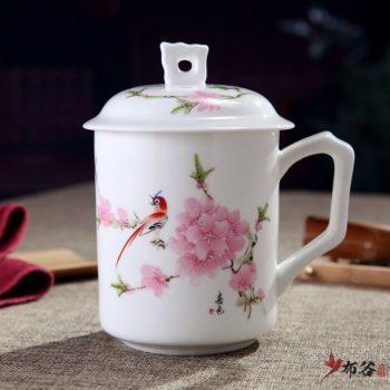 CBDI42-D-07手高档骨瓷带孔盖杯 粉彩水点桃花茶杯 品茗杯 老板杯尺寸 高15cm口径9cm容量550m