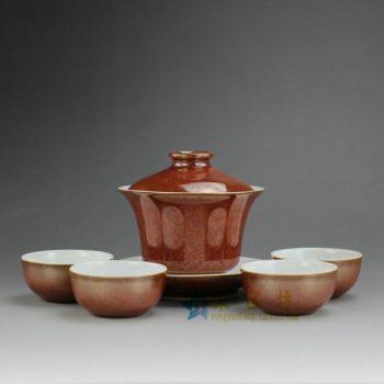 14FS24 8183手工花色釉茶具套装 盖碗尺寸:口径 9.8厘米 碟径 10.8厘米 高9.6厘米 容量 165毫升 杯子尺寸:口径 6厘米 高3厘米 容量 35毫升